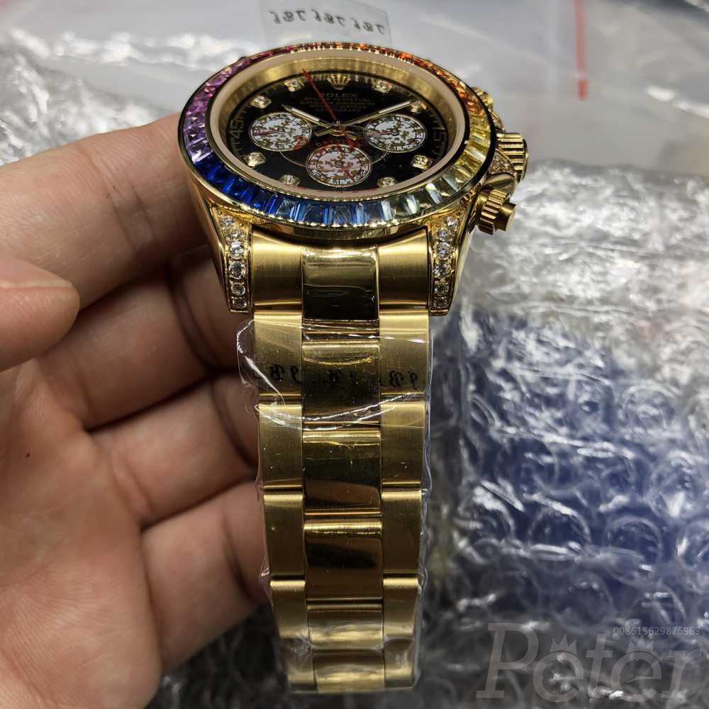 Daytona gold case black dial AAA automatic rainbow MH038