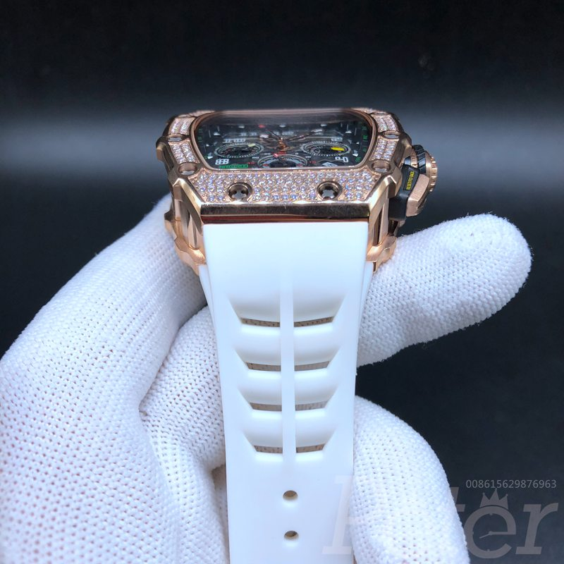 RM11-03 diamonds rose gold AAA automatic white rubber strap XD080