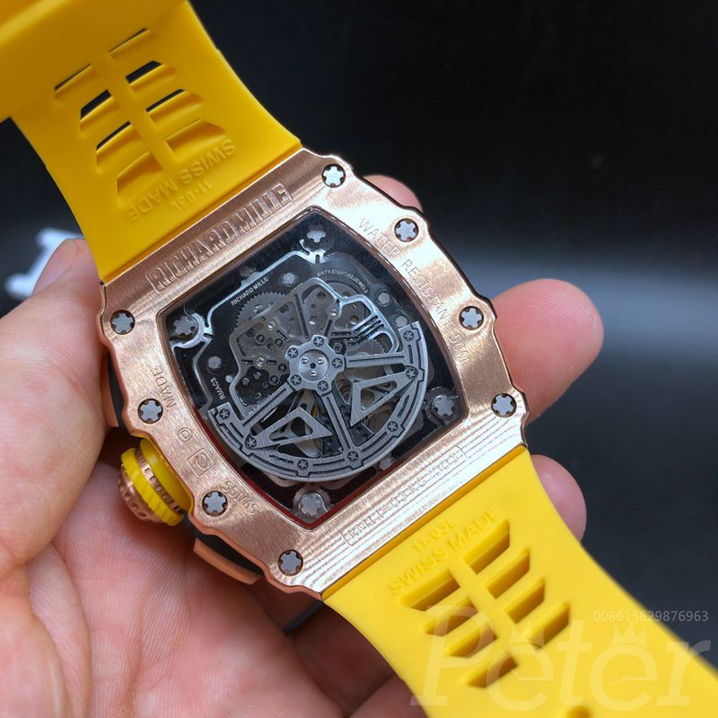 RM11-03 AAA rose gold case yellow rubber strap automatic XD055