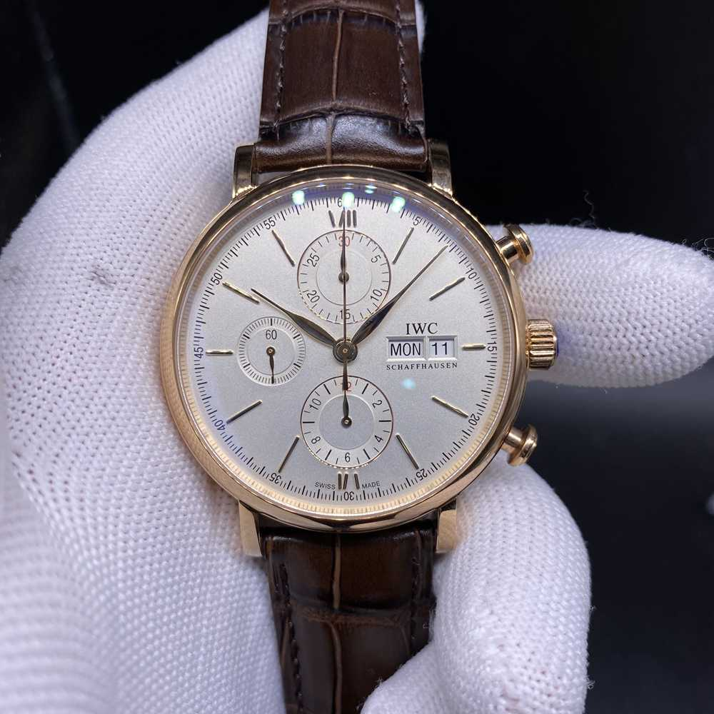 IWC rose gold 7750 full works movement brown leather 41mm case WT155