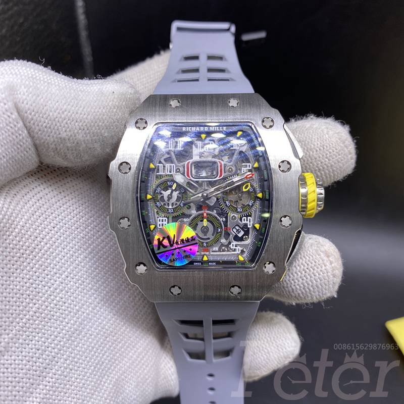 RM11-03 KV factory silver case gray rubber chronograph full works 7750 top WT295