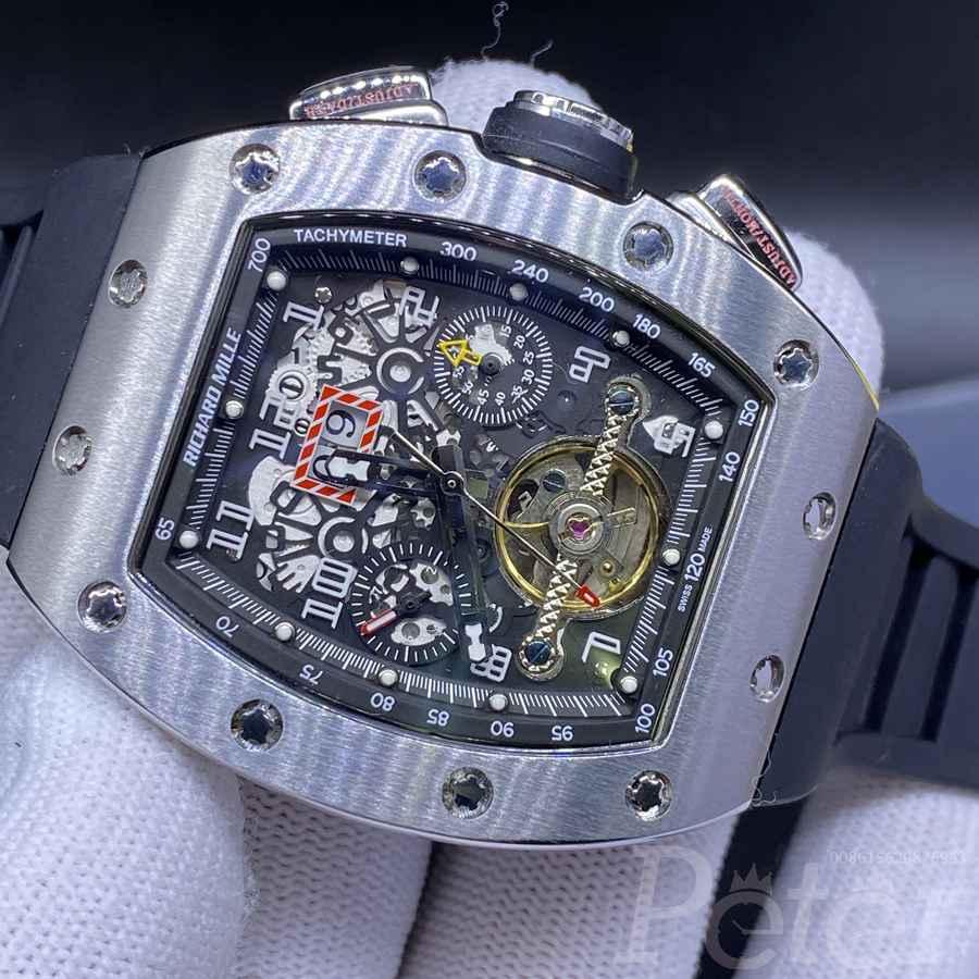 RM011 fake tourbillon AAA men stainless steel watch black rubber XD048