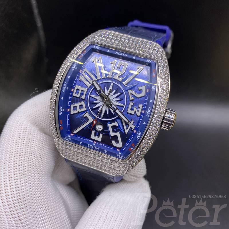 FM diamonds silver case with blue dial blue strap WS080