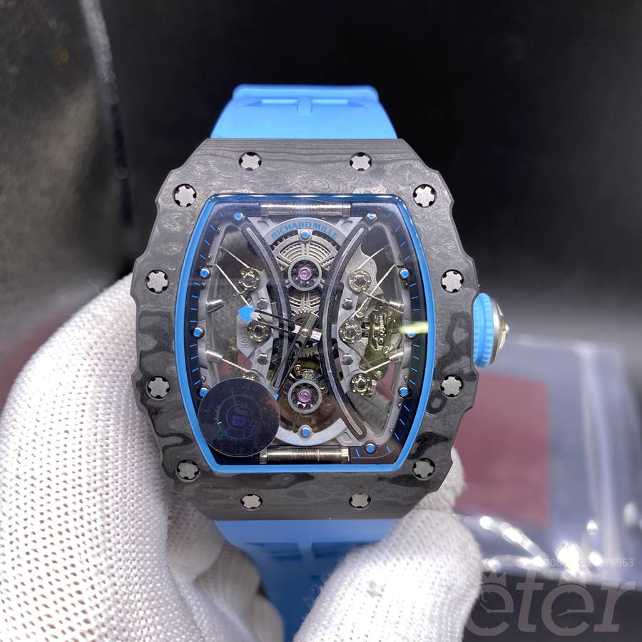 RM53-01 JB factory real tourbillon carcon case blue rubber expensive WT445