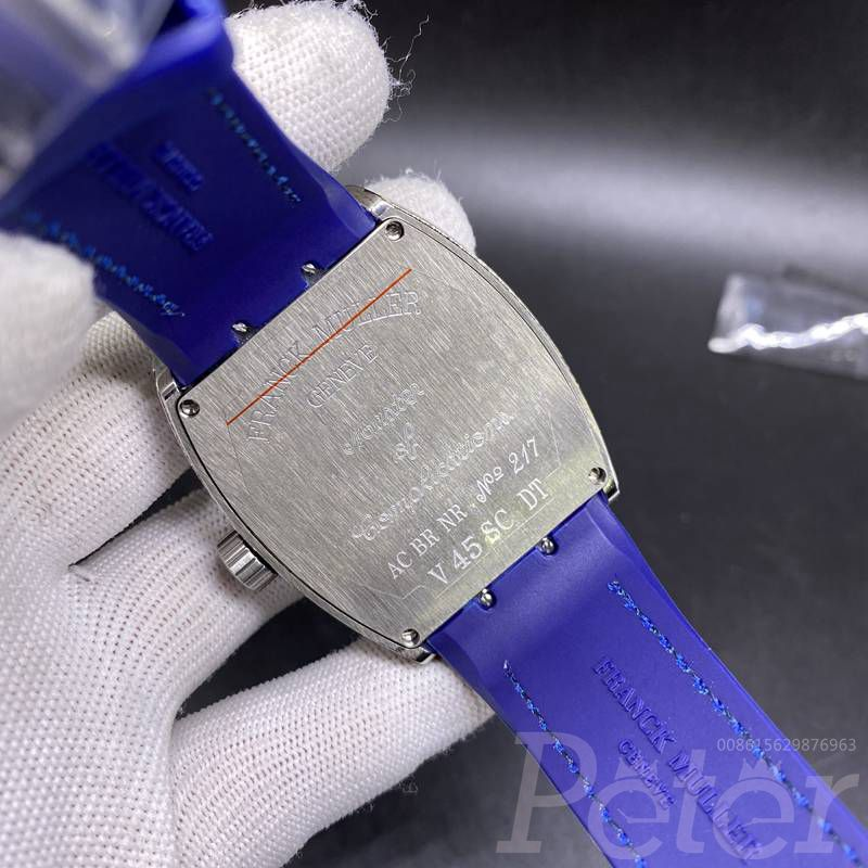 FM AAA diamonds silver case blue dial stones numbers WS080