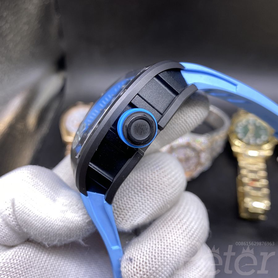 RM055 high quality Z factory Miyota automatic black case with blue rubber XD145