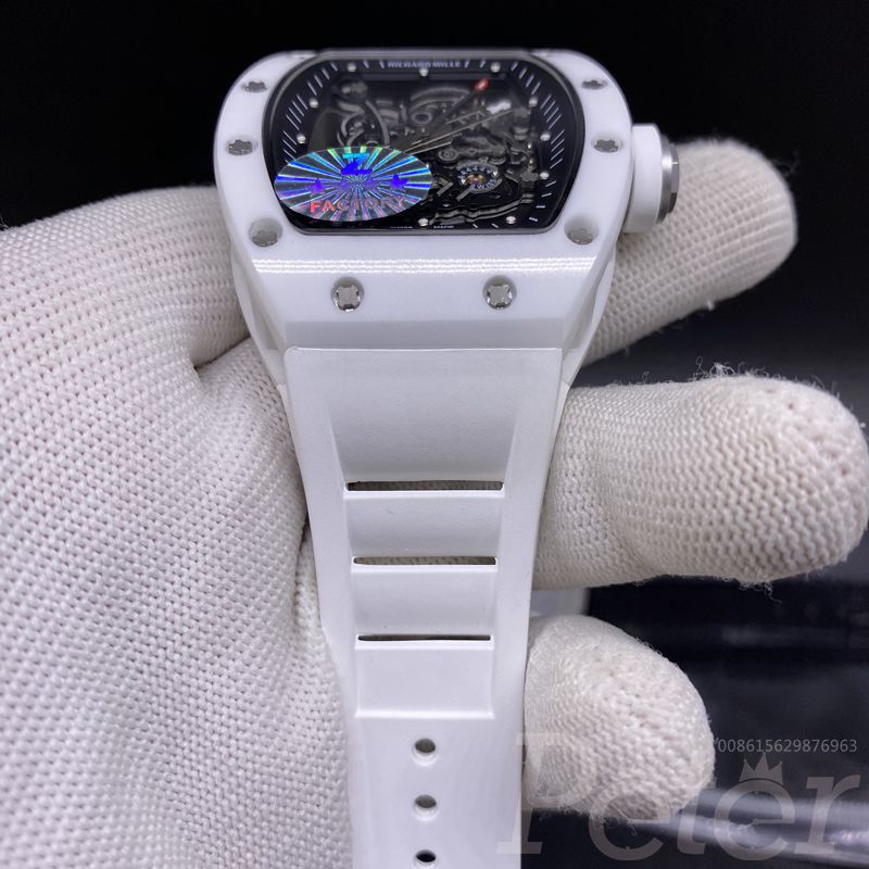 RM055 full white ceramic case automatic Z factory white rubber XD145
