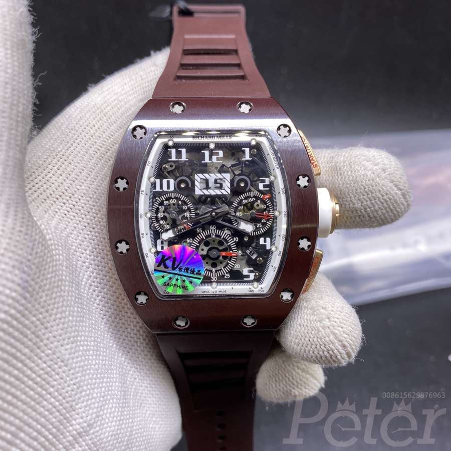 RM011 brown ceramic case brown rubber top KV factory 7750 full works XD003
