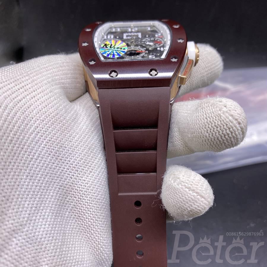 RM011 brown ceramic case brown rubber top KV factory 7750 full works XD003