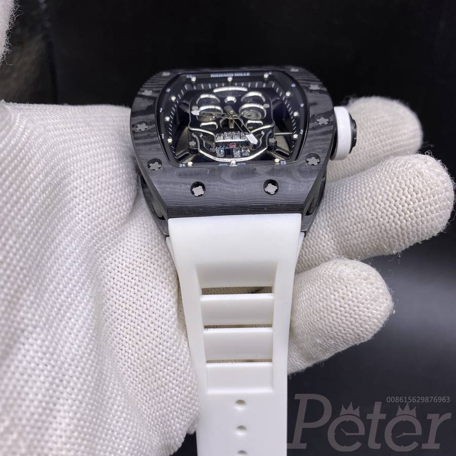RM52-01 automatic skull skeleton face carbon bezel 43x50mm white rubber strap XD115