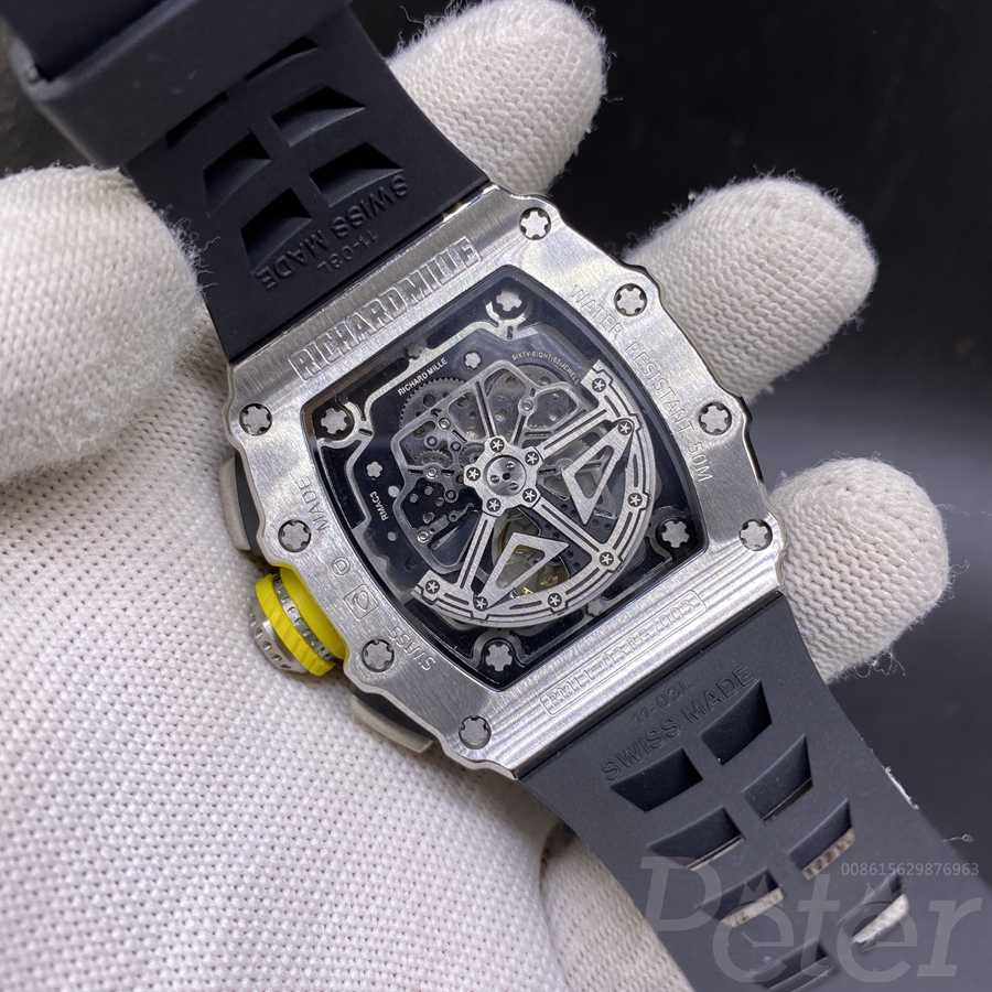 RM11-03 diamonds silver case black rubber AAA automatic XD080