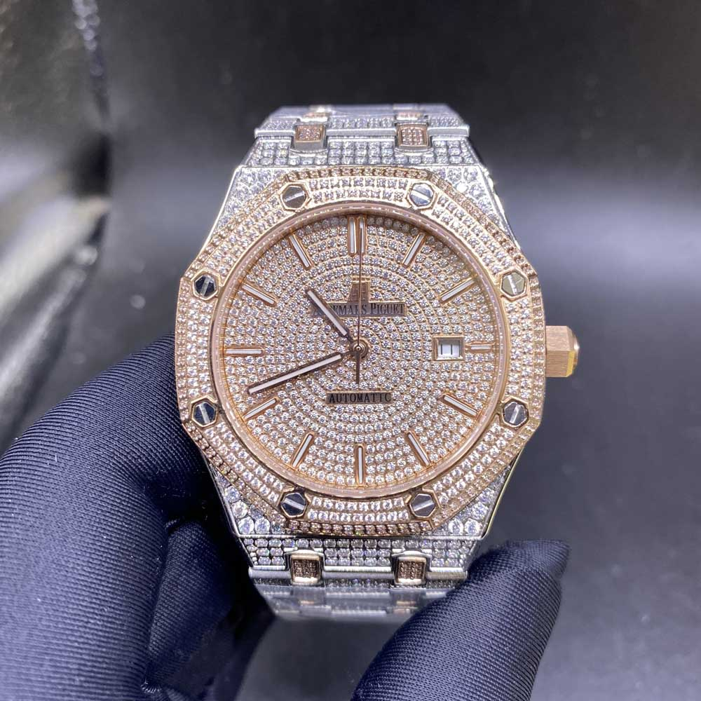 AP iced out two tone rose gold case 42mm automatic zircon stones M140