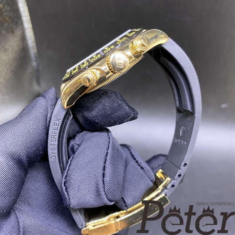 Daytona AAA gold case black dial oysterflex rubber strap 40mm Sxxx