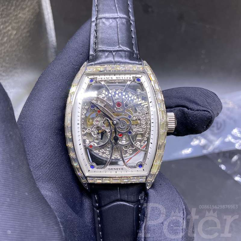 FM baguette diamonds silver case skeleton dial black leather strap XD070