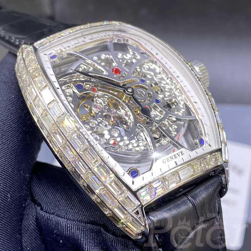 FM baguette diamonds silver case skeleton dial black leather strap XD070
