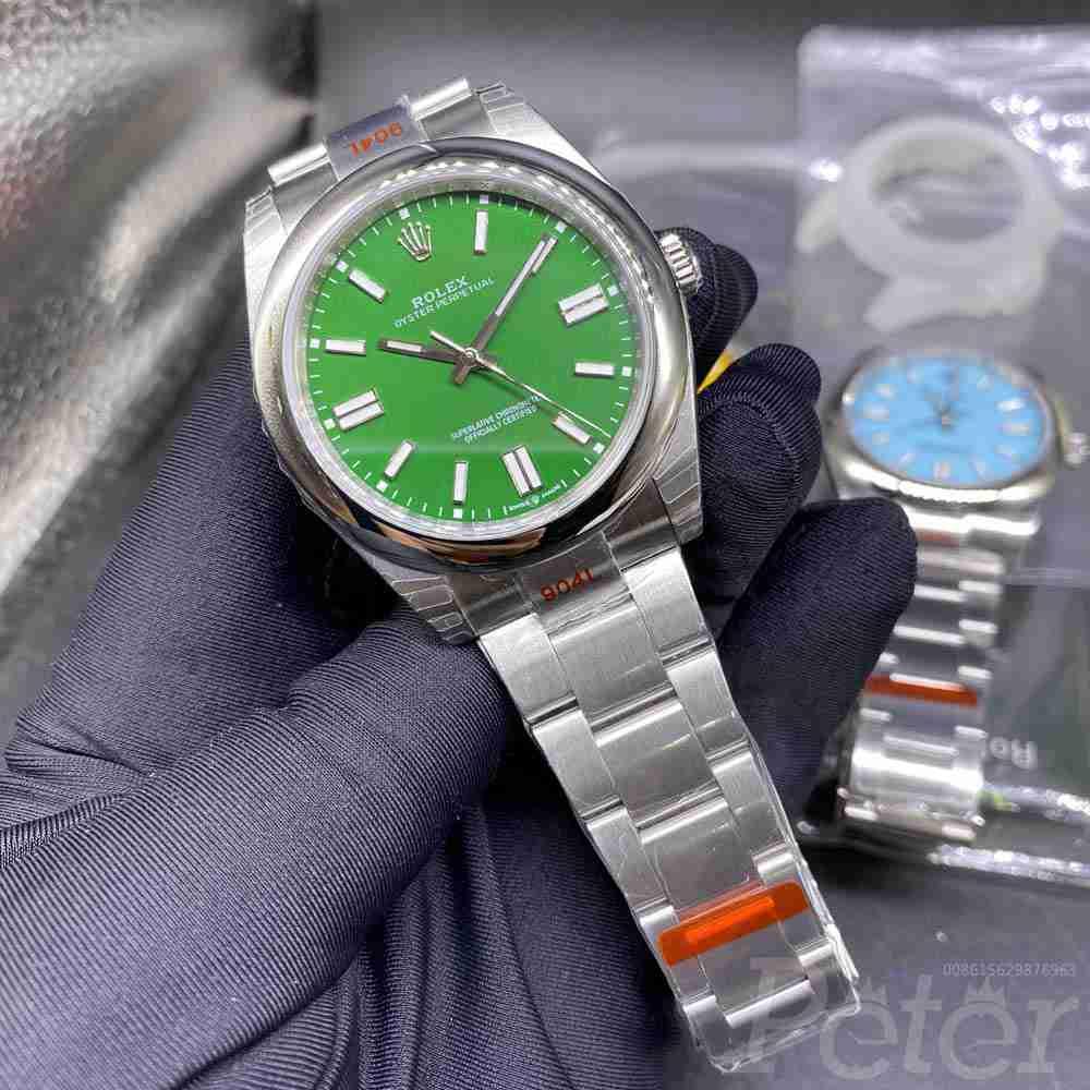Rolex Oyster Perpetual silver/green 39.5mm EW110