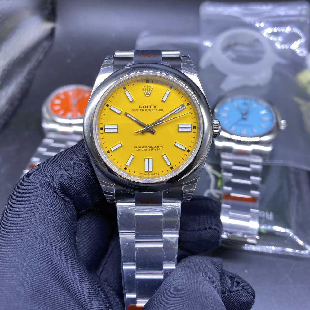 Oyster Perpetual yellow face silver case 39.5mm EW factory 3230 movement M110