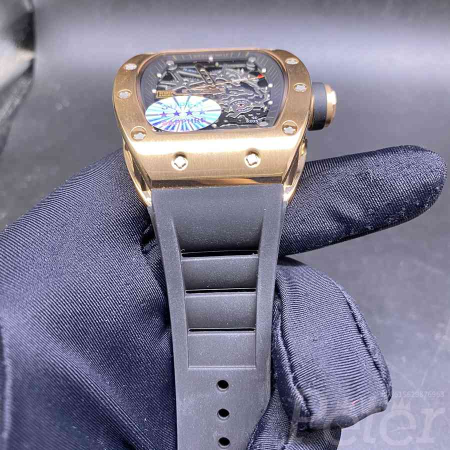 RM035 automatic rose gold case with black rubber strap normal glass skeleton dial 43mm XD095