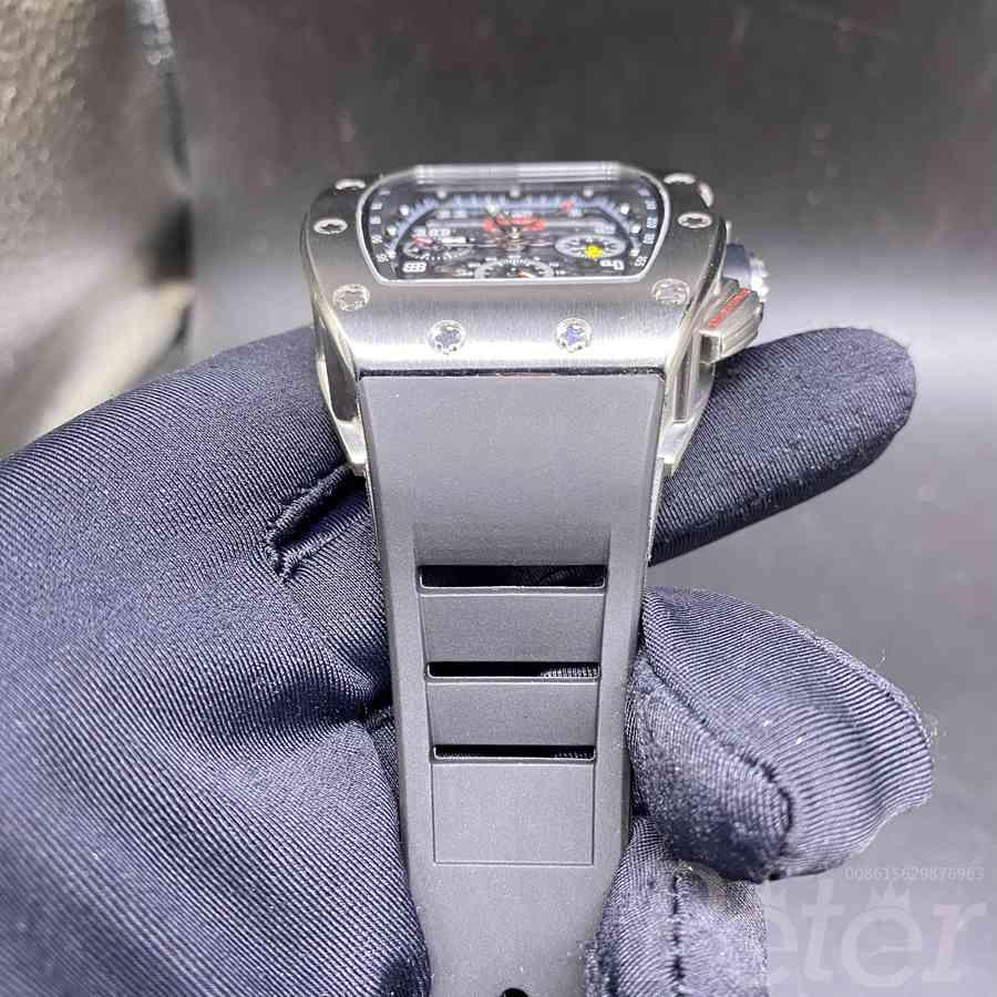 RM011-FM AAA silver case black rubber strap automatic men watch XD055