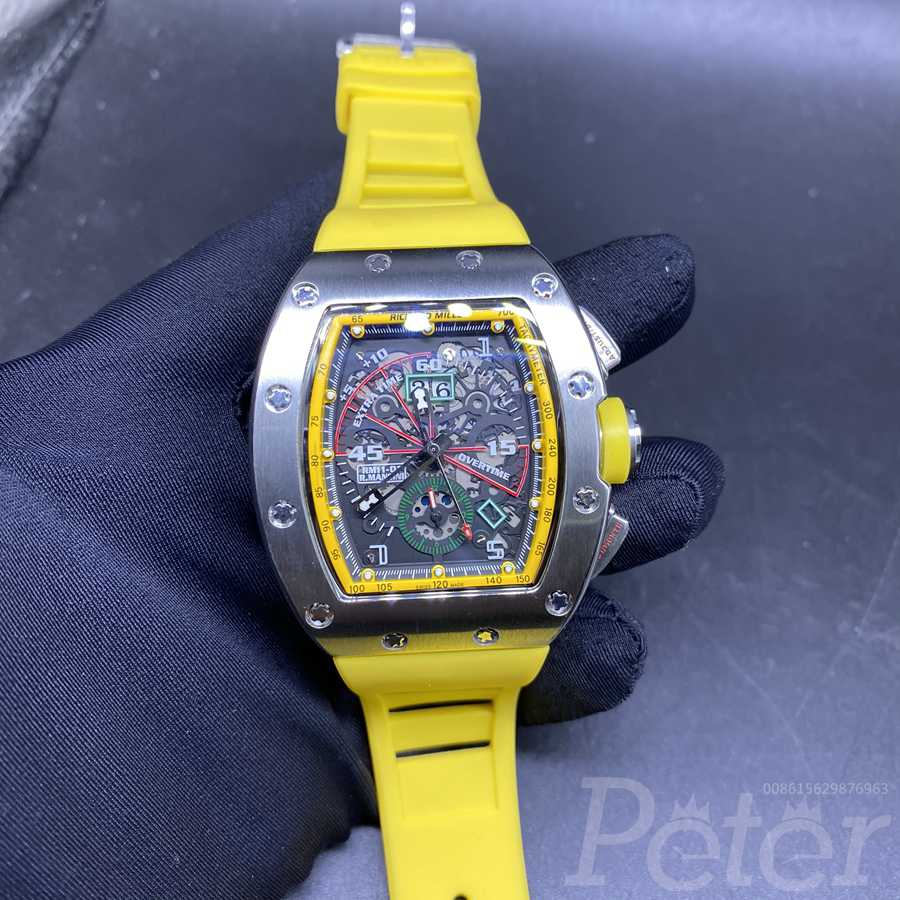 RM11-01 AAA automatic silver case 43mm men size with yellow rubber strap XD048
