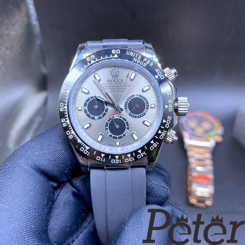 Daytona AAA automatic silver case gray dial black rubber oysterflex S020