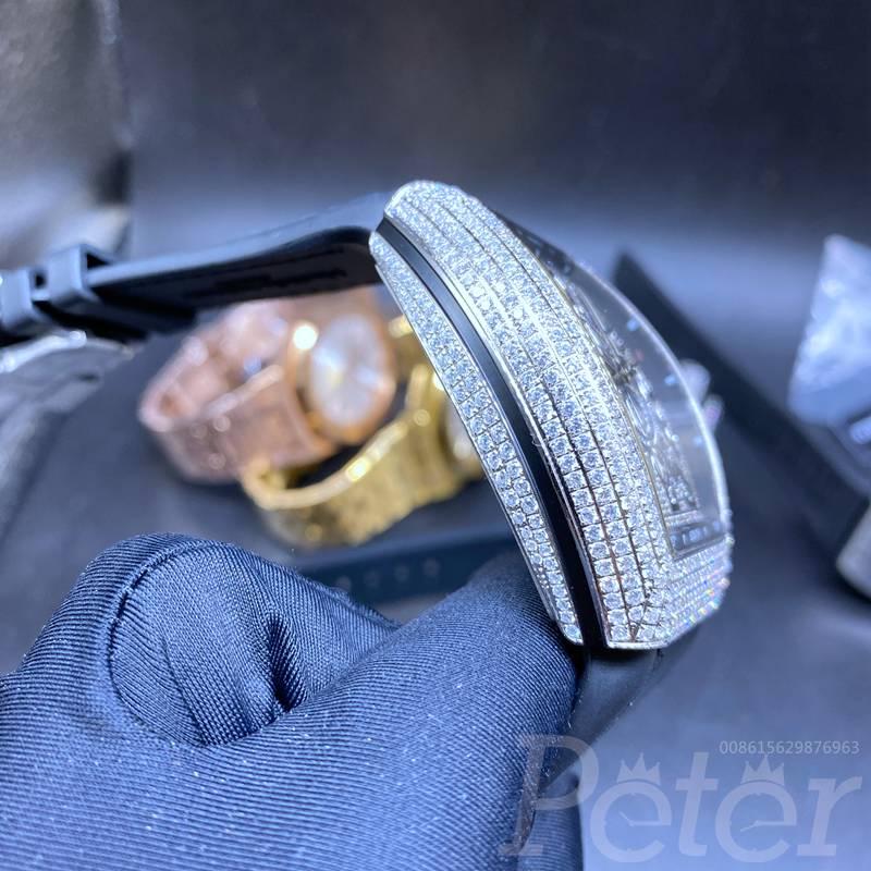 FM diamonds silver case AAA automatic zircon stones men watch WS072