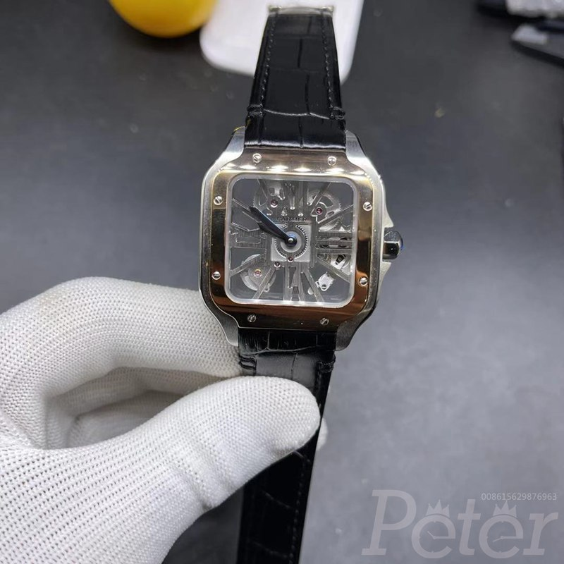Cartier skeleton rose gold two tone case 38mm with black leather strap WS140