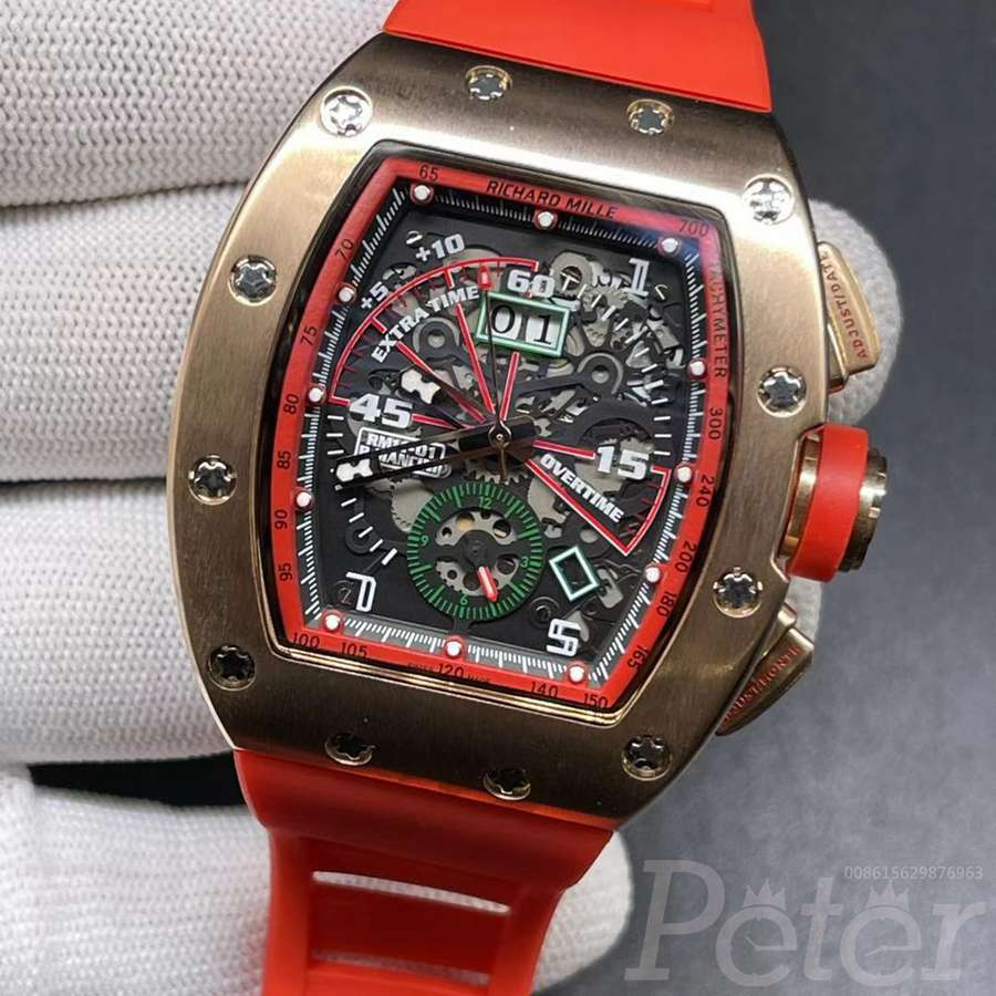 RM11-01 AAA rose gold stainless steel case 43mm automatic movement red rubber XD048