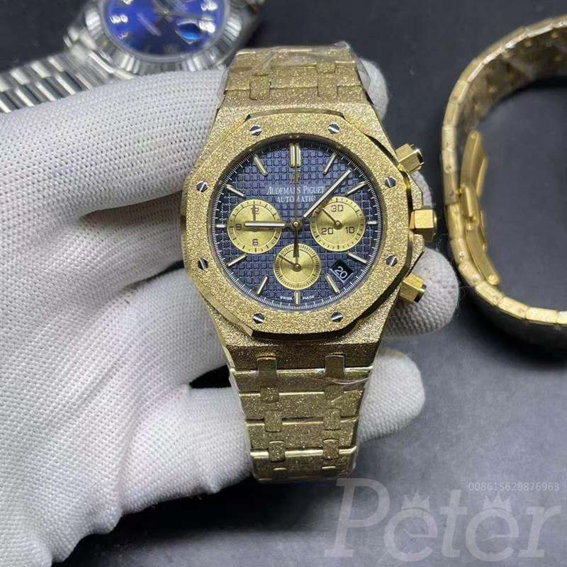 AP frosted gold case blue dial VK quartz XJ040