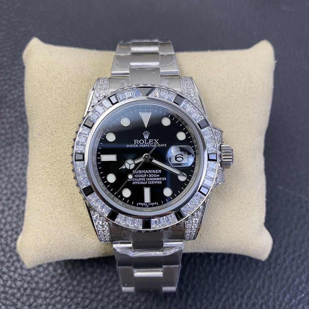 SUB black dial baguette stones bezel silver case 40mm KS factory high quality