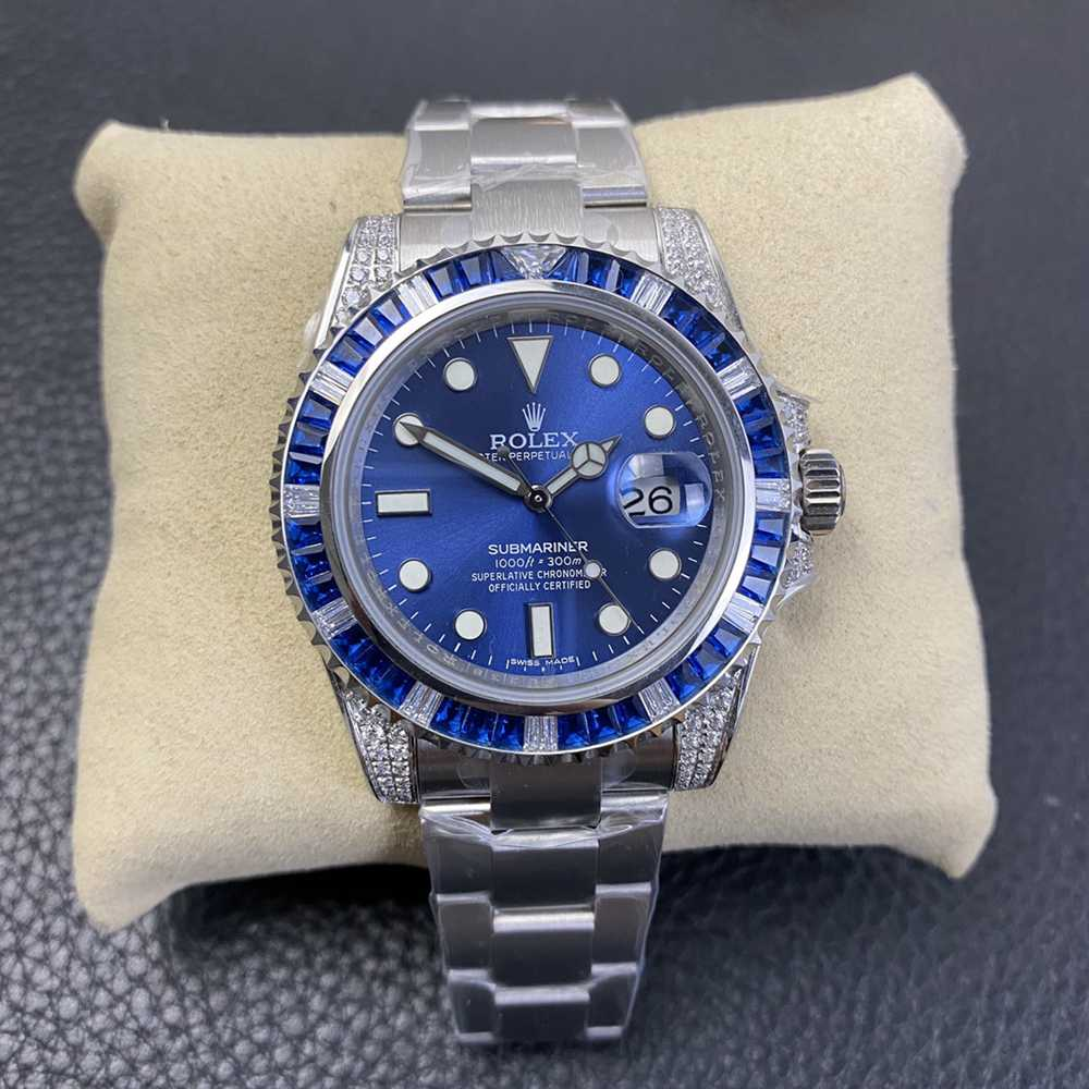 SUB blue high grade diamonds baguette bezel 2836 movement KSxxx
