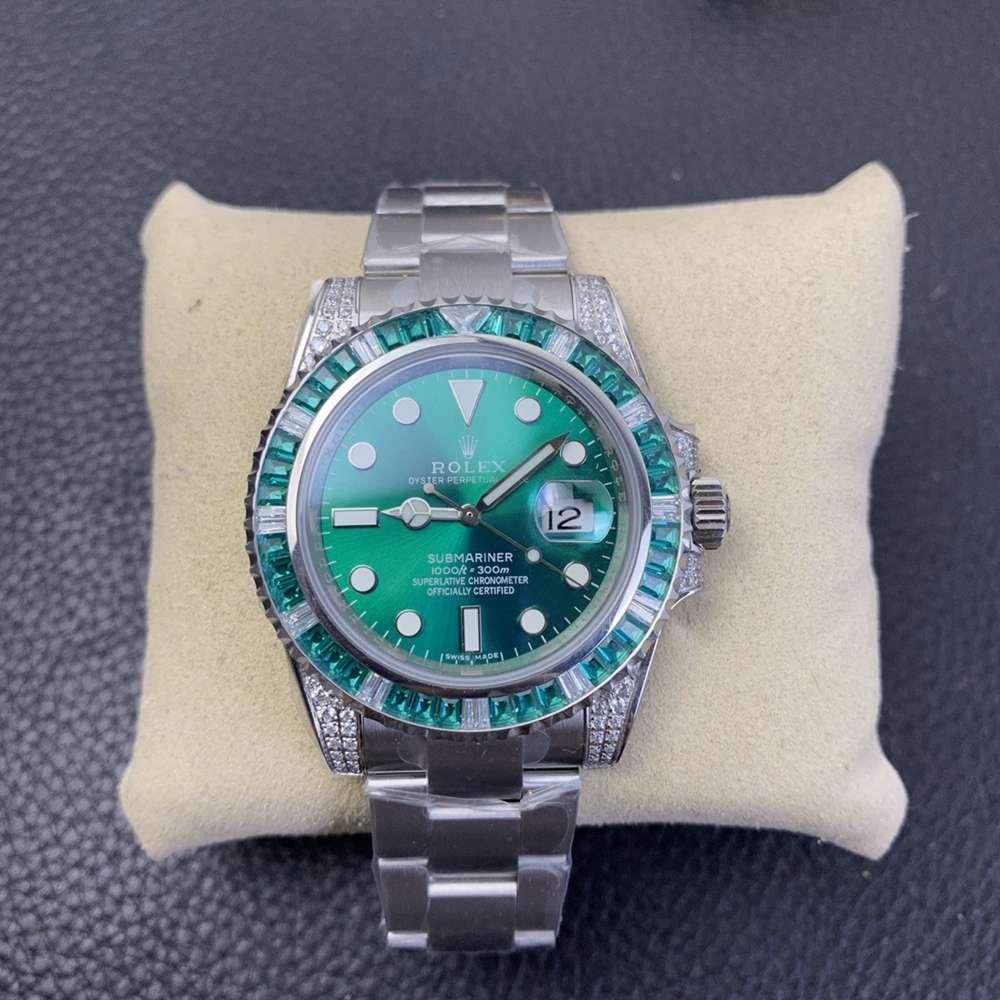 SUB green baguette stones bezel high quality 2836 movement KSxxx