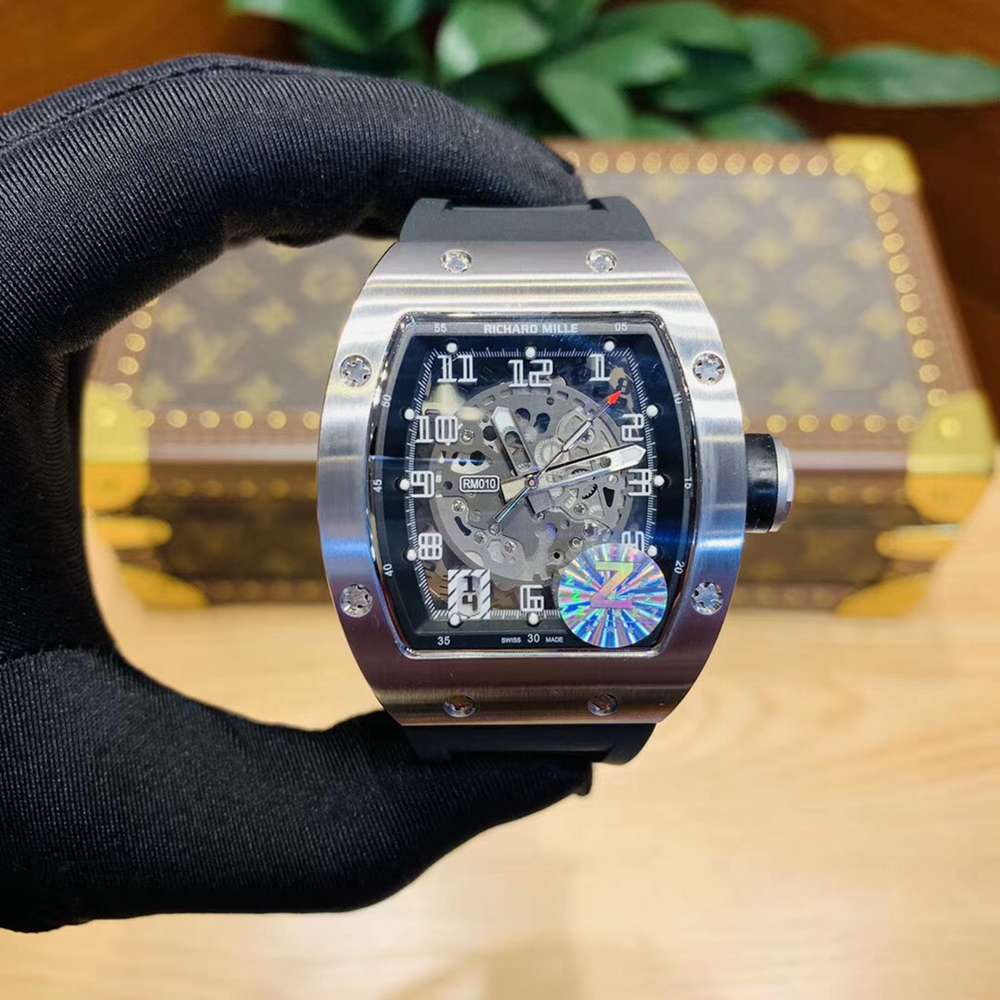 RM010 silver case black rubber automatic 40x50mm WS120