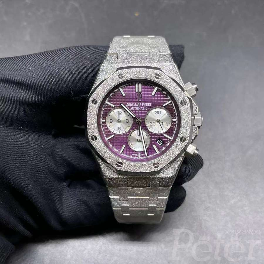 AP quartz frosted silver case purple dial men 42mm XJ038