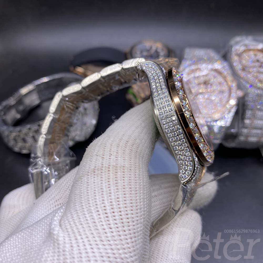 YM diamonds rose gold two tone color white dial MH110