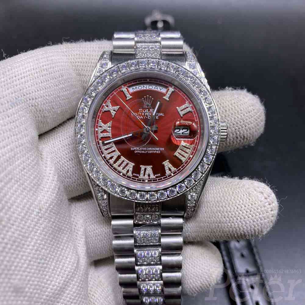 DayDate 40mm silver/red diamonds bezel automatic AAA S045