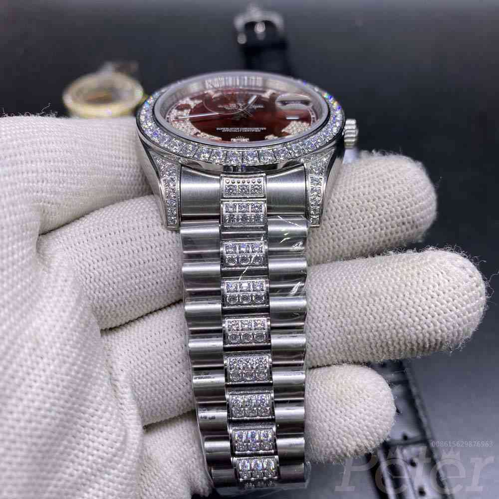 DayDate 40mm silver/red diamonds bezel automatic AAA S045