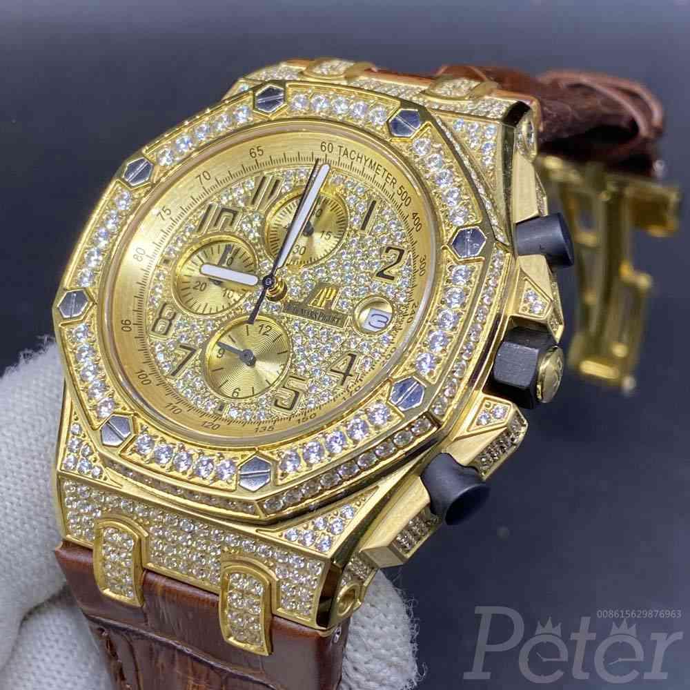 AP diamonds gold case OS quartz with brown leather strap XJ075