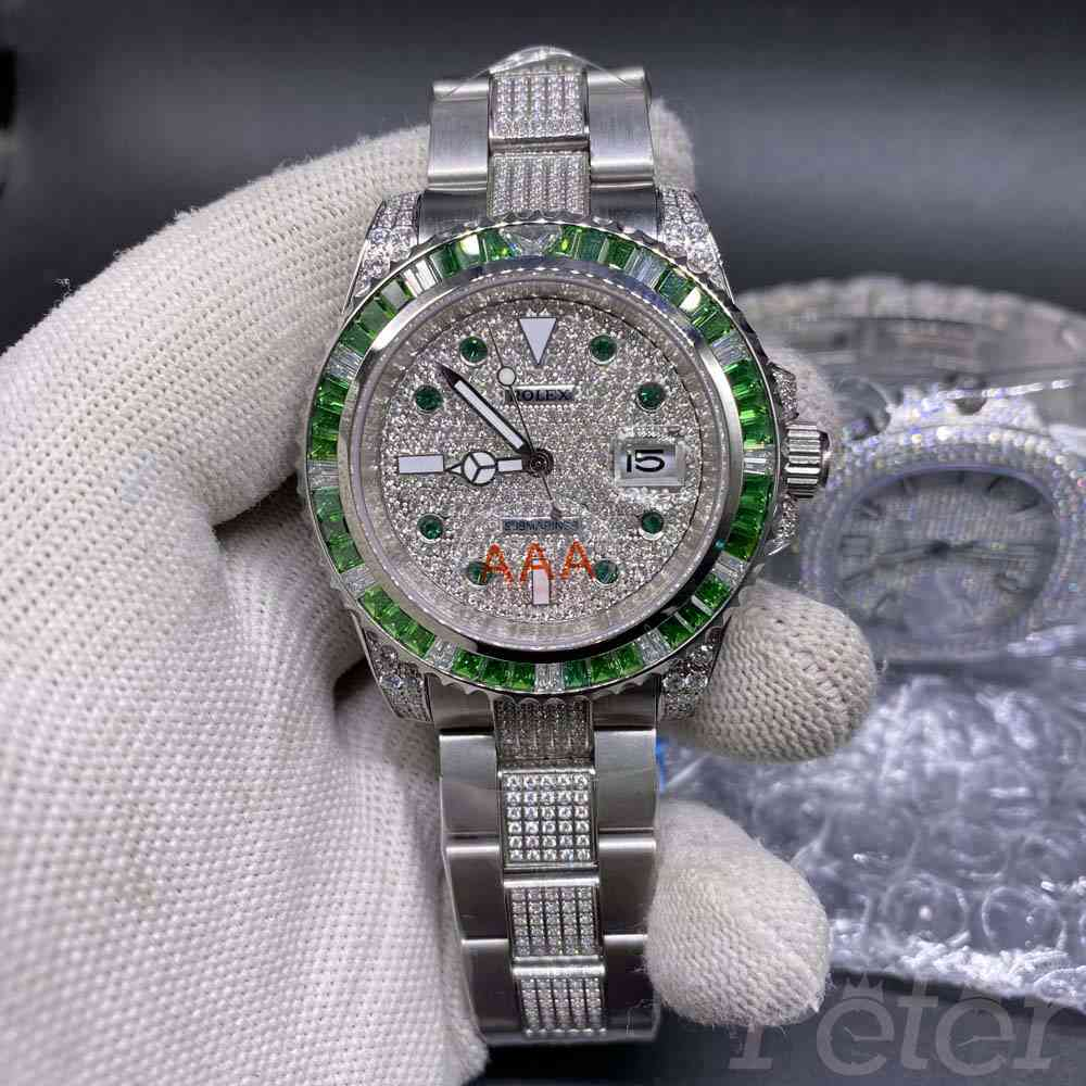 SUB diamonds face silver case green baguette stones bezel MH080