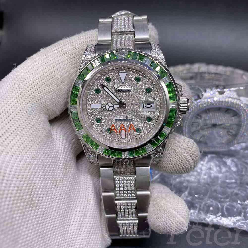 SUB diamonds face silver case green baguette stones bezel MH080