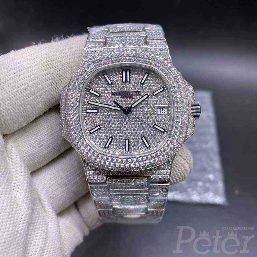 Patek bustdown diamonds swarovski silver high grade 40mm shiny iced out automatic watch WT275