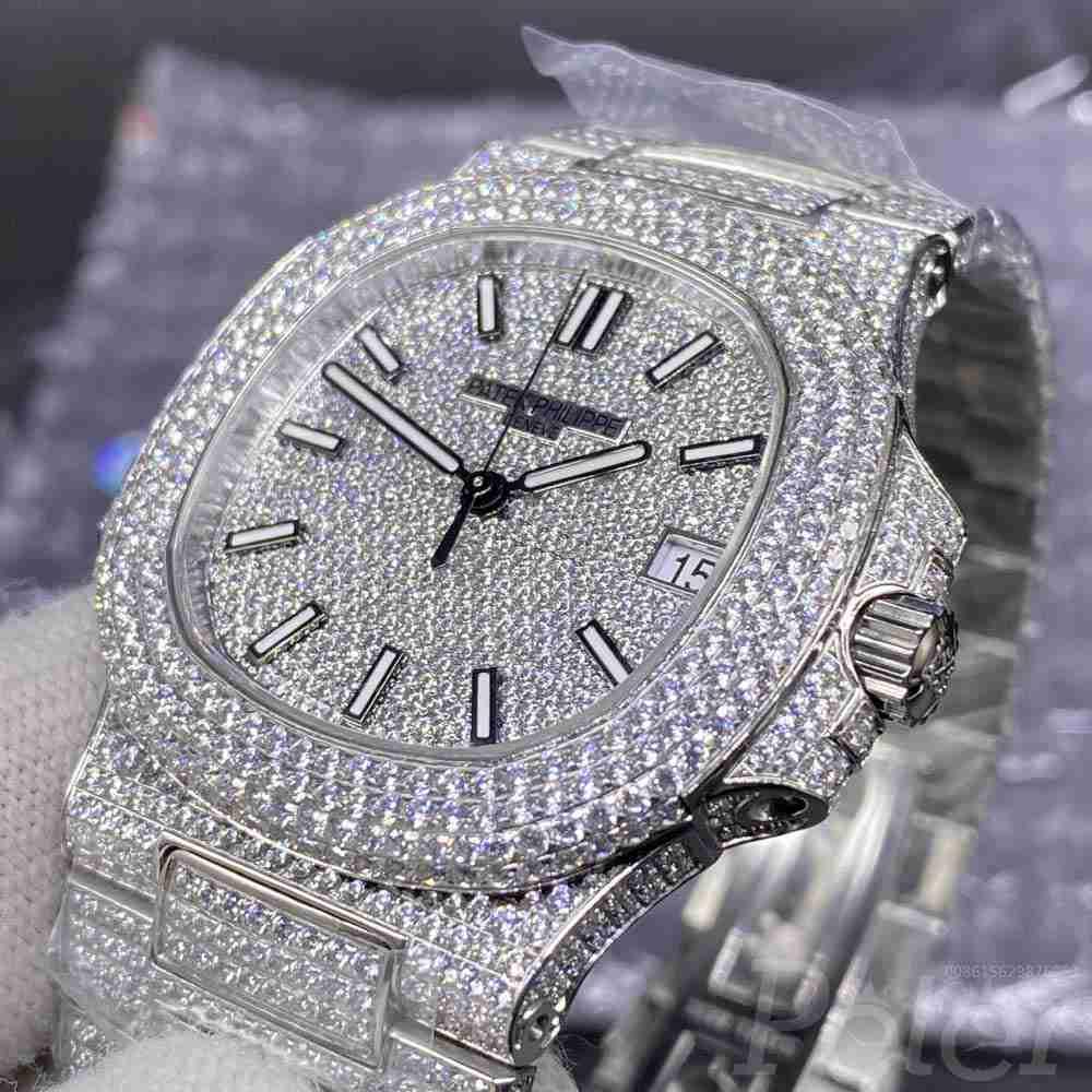 Patek bustdown diamonds swarovski silver high grade 40mm shiny iced out automatic watch WT275