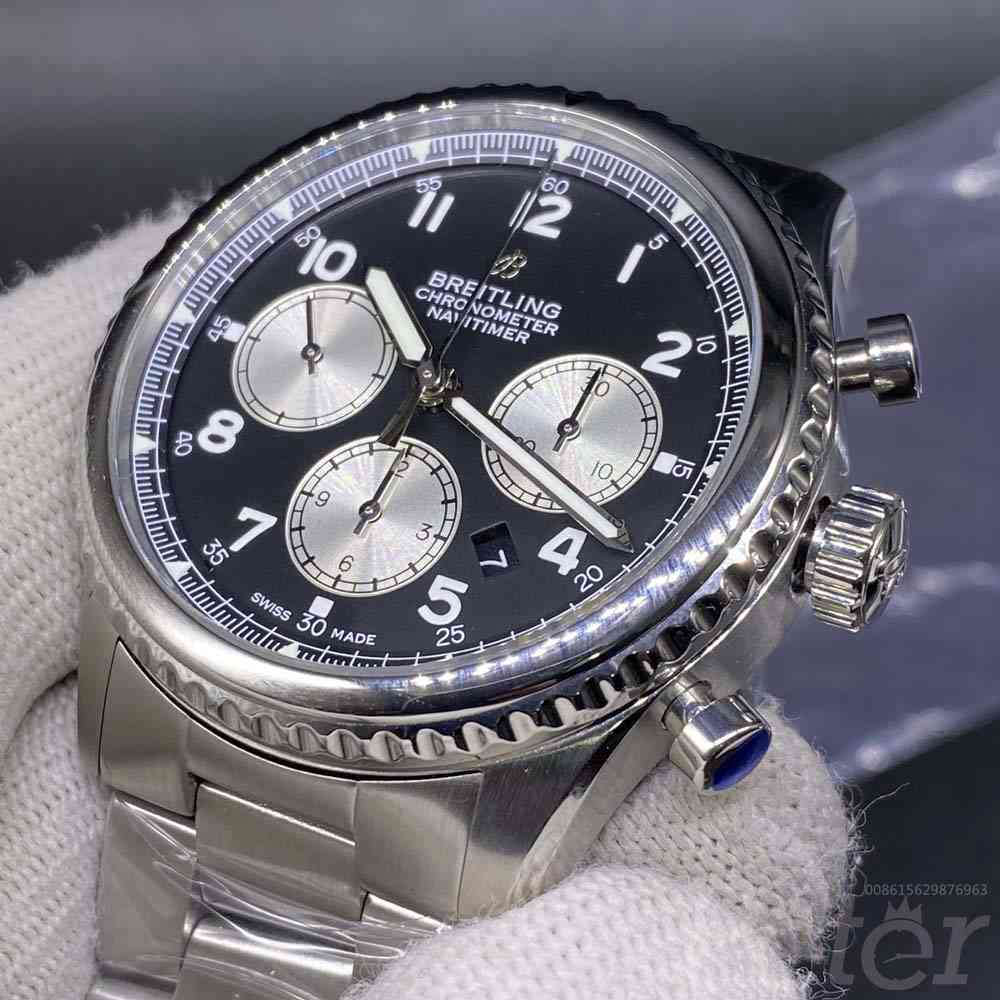Breitling silver case black dial 43mm 7750 movement M130