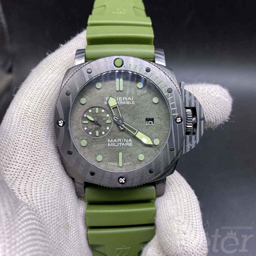 Panerai Marina 47mm black case green rubber strap M060