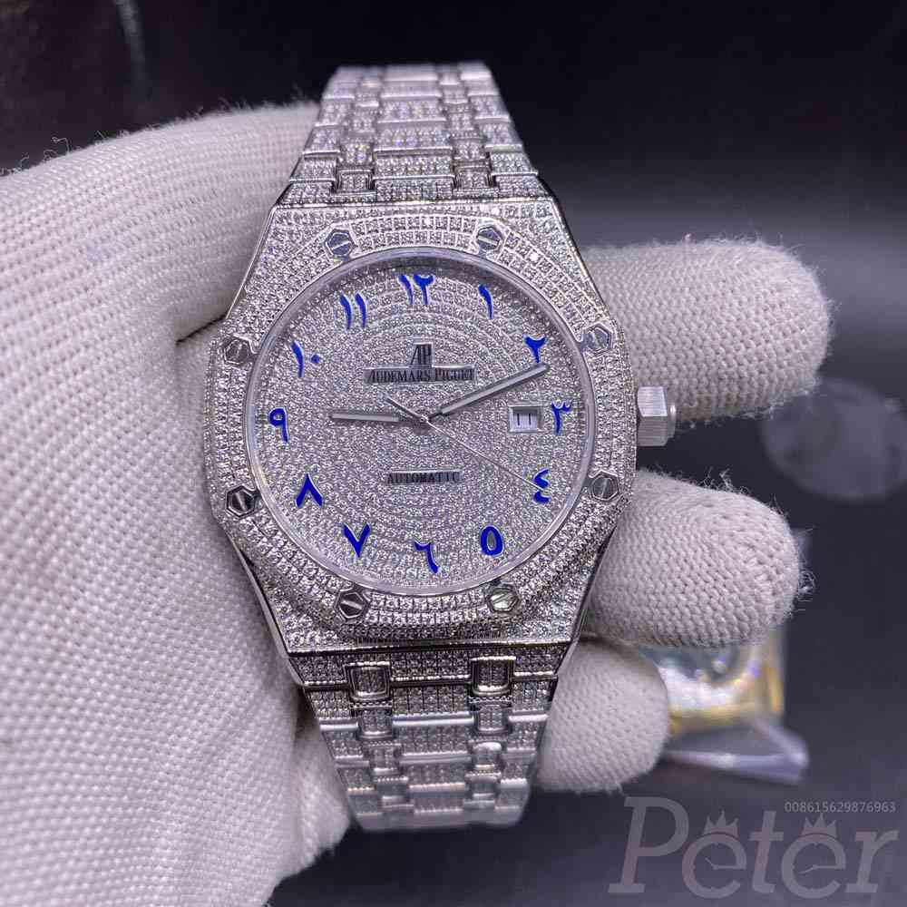AP iced out silver 42mm blue arabic numbers zircon stones M140