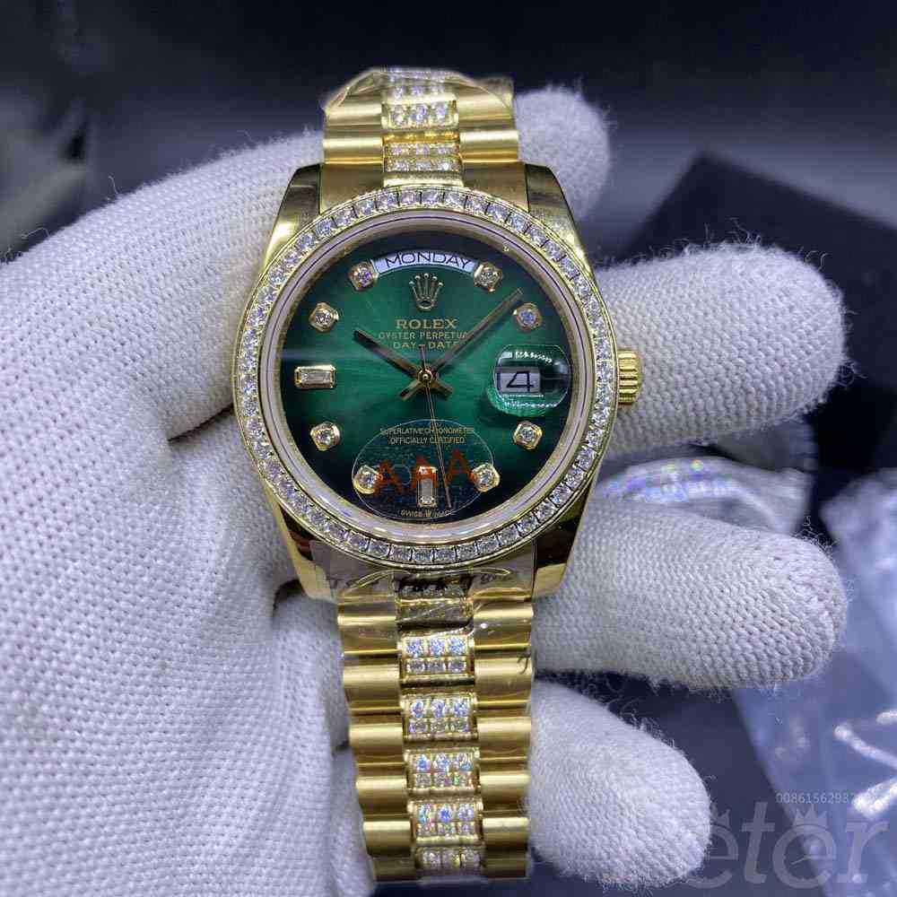 DayDate gold case green face 36mm women automatic MH042