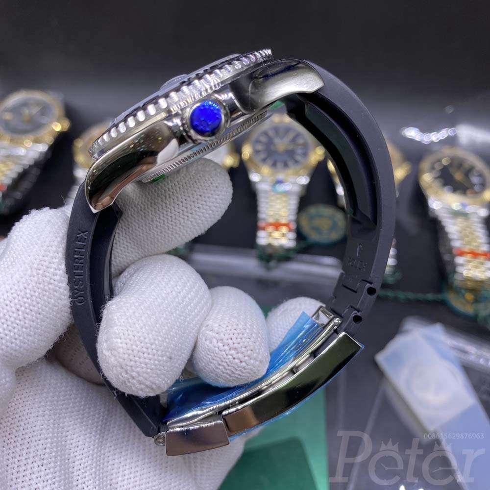 YM AAA+ 40mm silver case black dial oysterflex rubber strap YT030