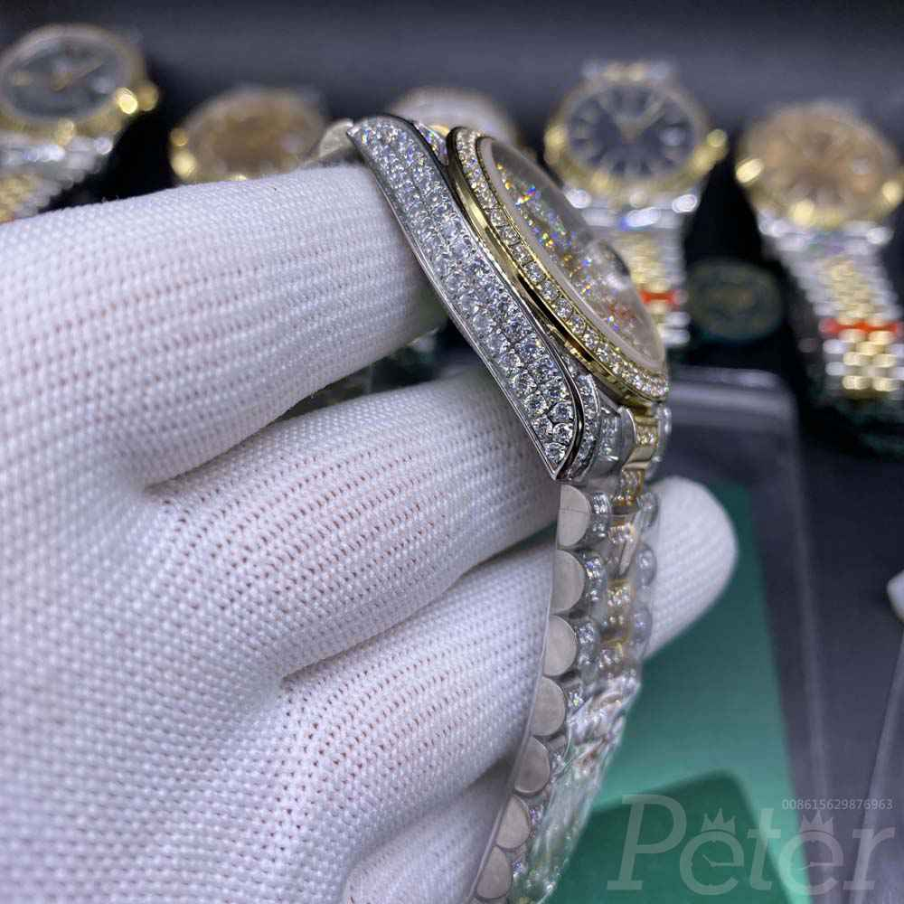 Datejust diamonds 2tone gold case 36mm arabic numbers AAA shiny zircon stones MH105