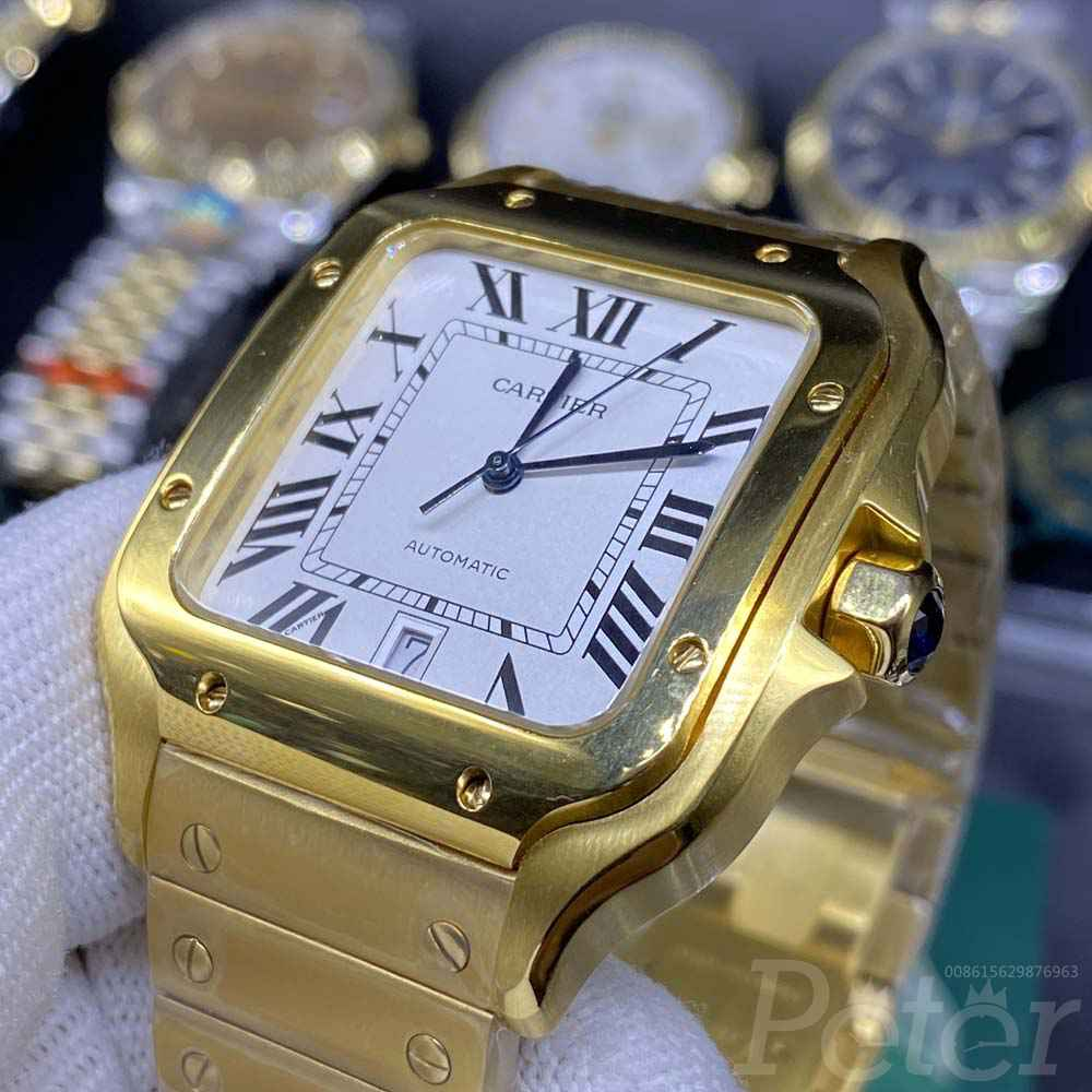 Cartier yellow gold case 38.5mm white dial high quality WT180