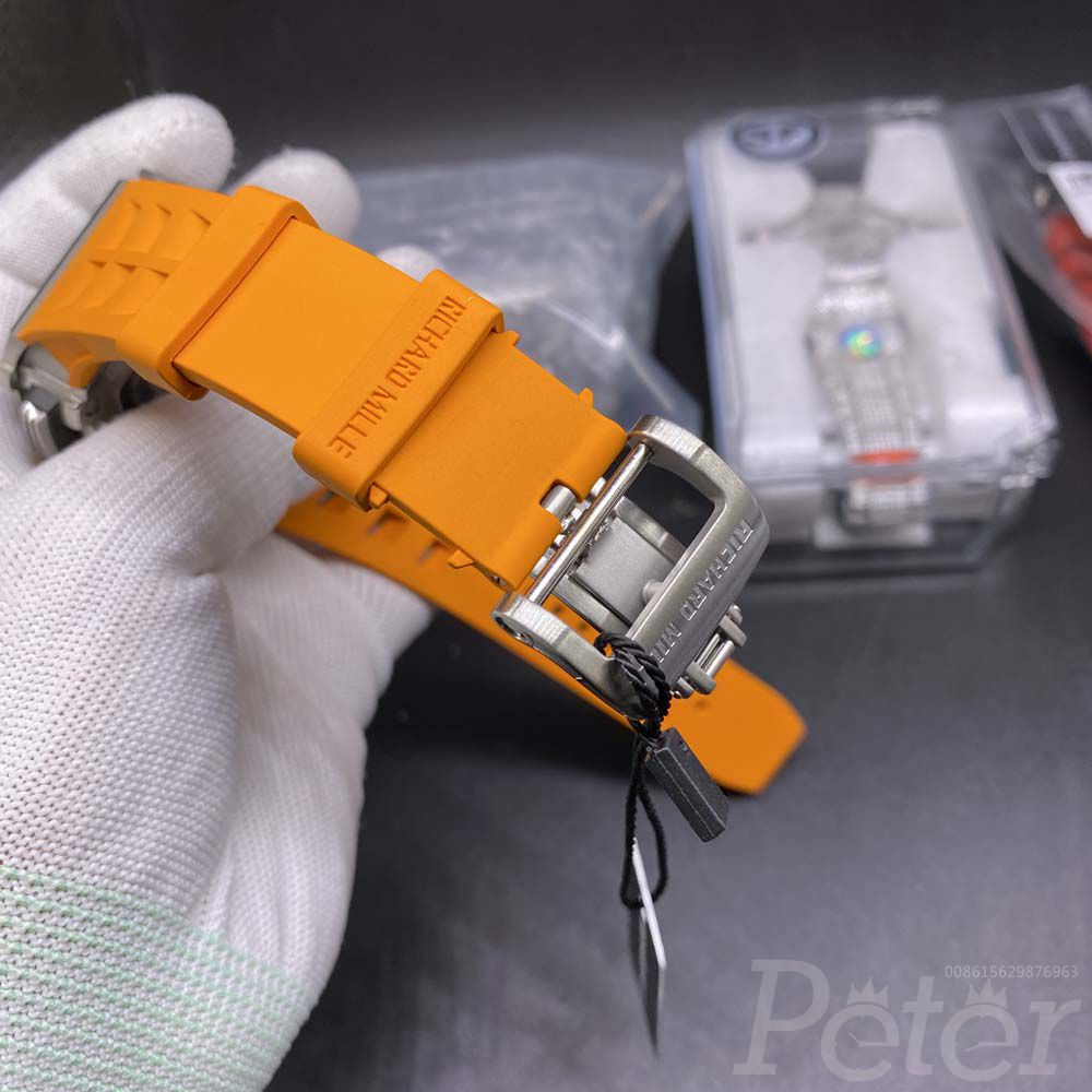 RM11-03 chronograph 7750 silver case 44x50mm orange rubber strap XD220